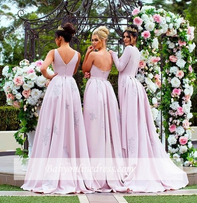 New Mermaid Bridesmaid Dresses   Long Sleeves Wedding Party Dresses with Overskirt_4