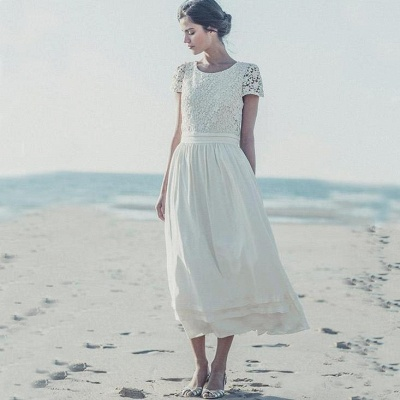 2021 Tea Length Wedding Dresses Boho Lace Top Short Sleeves Layered A-line Bridal Gowns_3