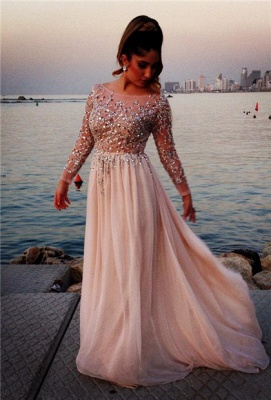 Long Sleeves Crystals Prom Dresses Scoop Neck Beaded Chiffon Court Train Evening Gowns_1