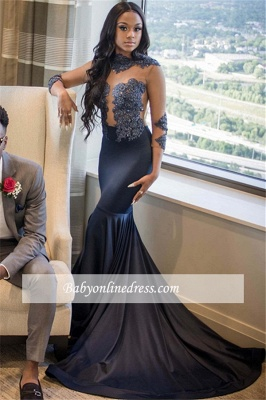 Glamorous High Neck Long Sleeves Prom Dresses | Mermaid Beading Sweep train Evening Gowns_3