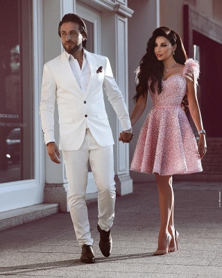 Pink Beading A-Line Homecoming Dress | Luxury Feather Short Party Dress BC0668_2