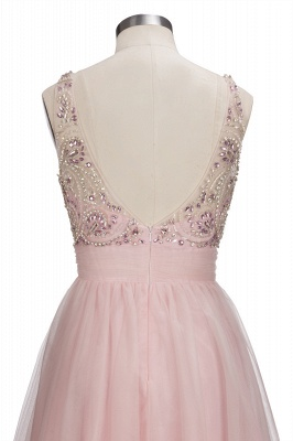Brilliant Tulle A-Line Homecoming Dresses   Pink Scoop Sleeveless Beading Cocktail Dresses Open Back_7
