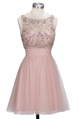 Brilliant Tulle A-Line Homecoming Dresses   Pink Scoop Sleeveless Beading Cocktail Dresses Open Back_2