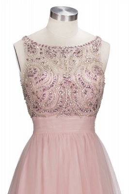Brilliant Tulle A-Line Homecoming Dresses   Pink Scoop Sleeveless Beading Cocktail Dresses Open Back_5