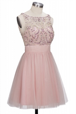Brilliant Tulle A-Line Homecoming Dresses   Pink Scoop Sleeveless Beading Cocktail Dresses Open Back_4