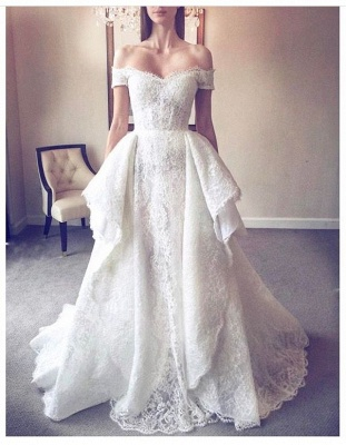 Elegant Lace A-Line Wedding Dresses | Off-The-Shoulder Overskirt Long Bridal Gowns_2