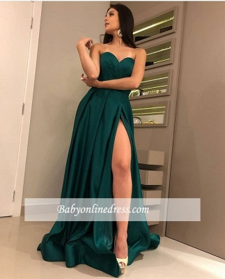 Sexy Sweetheart Sleeveless Dark-Green Prom Dresses   A-Line Side-Slit Evening Gowns_2