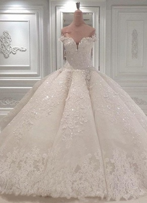 Gorgeous Ball Gown Wedding Dresses | Off-the-Shoulder Lace Beading Bridal Gowns_1