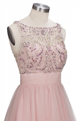Brilliant Tulle A-Line Homecoming Dresses   Pink Scoop Sleeveless Beading Cocktail Dresses Open Back_6