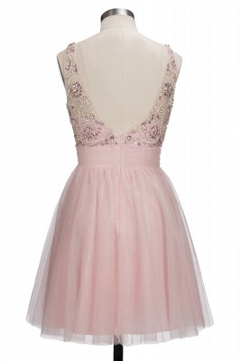 Brilliant Tulle A-Line Homecoming Dresses   Pink Scoop Sleeveless Beading Cocktail Dresses Open Back_3