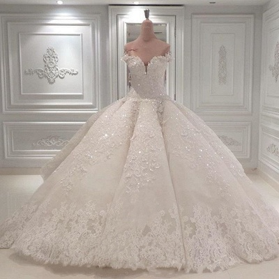 Gorgeous Ball Gown Wedding Dresses | Off-the-Shoulder Lace Beading Bridal Gowns_2