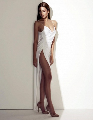 2021 Sexy Summer Wedding Dresses Spaghettis Straps High Side Slit Backless Beach Party Dress_4