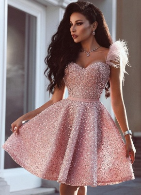 Pink Beading A-Line Homecoming Dress | Luxury Feather Short Party Dress BC0668_4