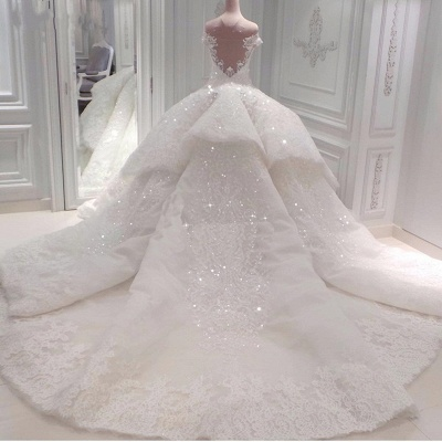 Gorgeous Ball Gown Wedding Dresses | Off-the-Shoulder Lace Beading Bridal Gowns_3