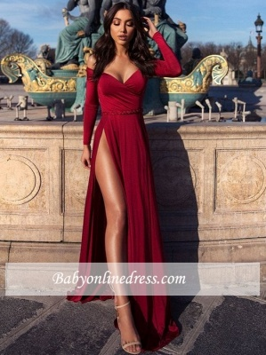 Slit Off-The-Shoulder Long-Sleeves Prom Dresses | A-Line Elegant Split Prom Dresses_5