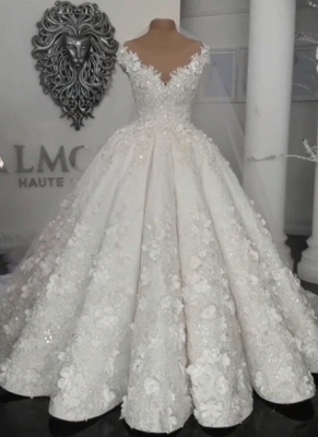 Gorgeous Ball Gown Wedding Dresses | Off-the-Shoulder Floral Beading Bridal Gowns_1