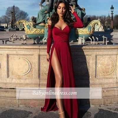 Slit Off-The-Shoulder Long-Sleeves Prom Dresses | A-Line Elegant Split Prom Dresses_2