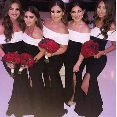 Black And White Mermaid Bridesmaid Dresses | Off The Shoulder Long Wedding Party Dresses_2