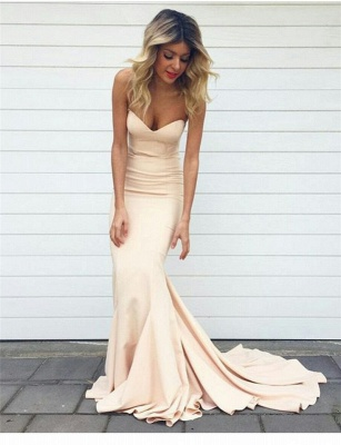 2021 Simple Mermaid Prom Dresses Nude Color Sweetheart Neck Evening Gowns_3