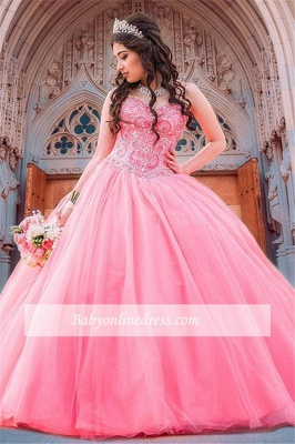 Wonderful Ball-Gown Beaded Sweetheart Quince Dresses_3