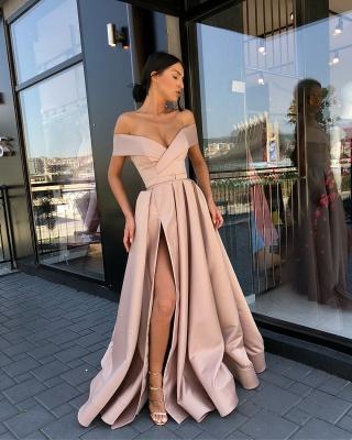 Fashion Off The Shoulder A-Line Evening Dresses | Side Slit Long Simple Prom Dresses_3