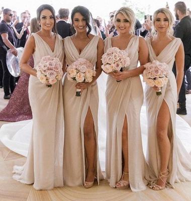 Simple Chiffon Long Bridesmaid Dresses | V-Neck Sleeveless Side-Slit Prom Dresses BM0203_2