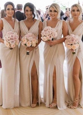 Simple Chiffon Long Bridesmaid Dresses | V-Neck Sleeveless Side-Slit Prom Dresses BM0203_1