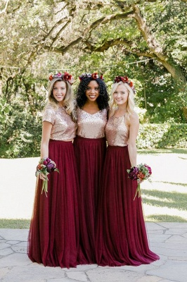 Burgundy And Gold Two Pieces Sequin A Line Floor Length Bridesmaid Dresses_1