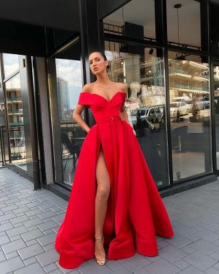 Fashion Off The Shoulder A-Line Evening Dresses | Side Slit Long Simple Prom Dresses_5