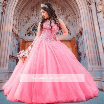 Wonderful Ball-Gown Beaded Sweetheart Quince Dresses_1