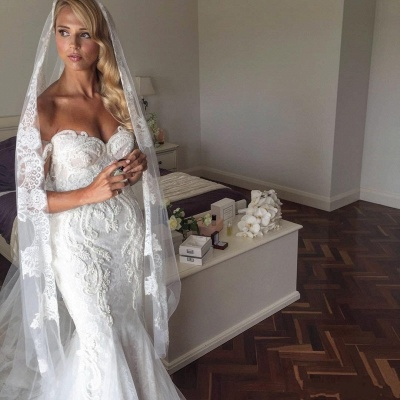 Sexy Mermaid Lace Wedding Dresses | Off-The-Shoulder Short Sleeves Beaded Long Bridal Gowns_3