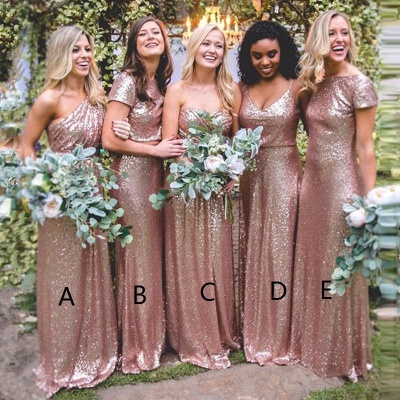 Sexy Sequin Bridesmaid Dresses | Rose Gold Long Wedding Guest Dresses_2