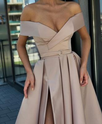Fashion Off The Shoulder A-Line Evening Dresses | Side Slit Long Simple Prom Dresses_2
