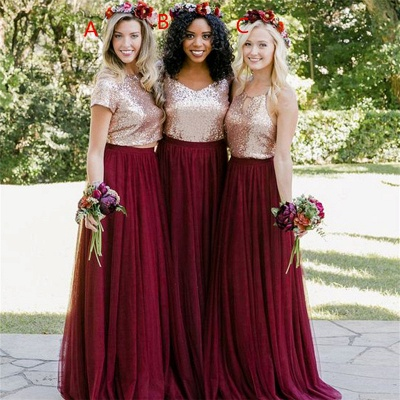 Burgundy And Gold Two Pieces Sequin A Line Floor Length Bridesmaid Dresses_3