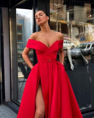 Fashion Off The Shoulder A-Line Evening Dresses | Side Slit Long Simple Prom Dresses_4