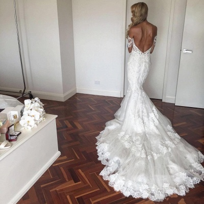 Sexy Mermaid Lace Wedding Dresses | Off-The-Shoulder Short Sleeves Beaded Long Bridal Gowns_2