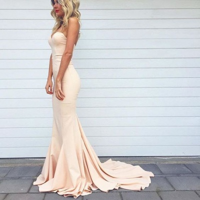 2021 Simple Mermaid Prom Dresses Nude Color Sweetheart Neck Evening Gowns_4