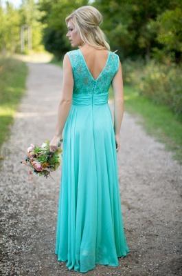 2021 Sea Blue Bridesmaid Dresses Lace Chiffon Elegant Long Maid of the Honor Dresses_4