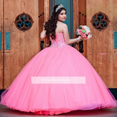Wonderful Ball-Gown Beaded Sweetheart Quince Dresses_2