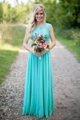 2021 Sea Blue Bridesmaid Dresses Lace Chiffon Elegant Long Maid of the Honor Dresses_2