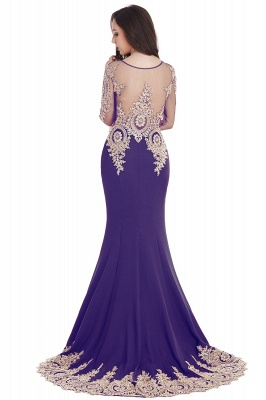 Elegant Lace Appliques Mermaid Prom Dresses | Sheer Neck Long Sleeves Evening Dresses BM0113_9