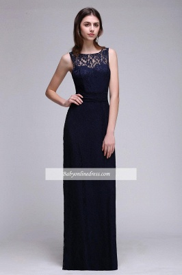Lace Sleeveless Floor-Length Dark-Navy Sheath Evening Gowns_6