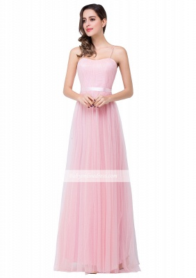 Simple Pink Spaghetti-Straps Open-Back Ruffles A-Line Evening Dress_5