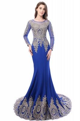 Elegant Lace Appliques Mermaid Prom Dresses | Sheer Neck Long Sleeves Evening Dresses BM0113_10