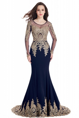 Elegant Lace Appliques Mermaid Prom Dresses | Sheer Neck Long Sleeves Evening Dresses BM0113_11