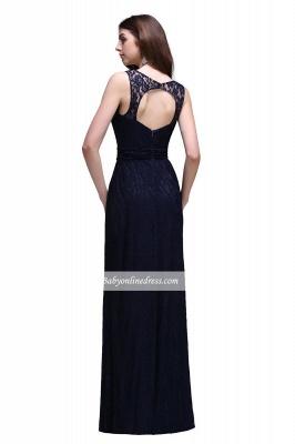 Lace Sleeveless Floor-Length Dark-Navy Sheath Evening Gowns_3
