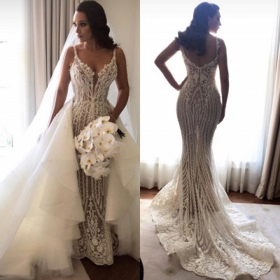 Sexy Lace Mermaid Wedding Dresses   Spaghetti Straps Bridal Gowns with Detachable Skirt_2