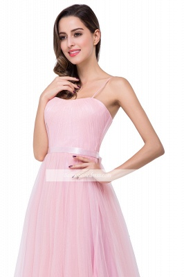 Simple Pink Spaghetti-Straps Open-Back Ruffles A-Line Evening Dress_3
