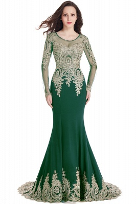 Elegant Lace Appliques Mermaid Prom Dresses | Sheer Neck Long Sleeves Evening Dresses BM0113_13