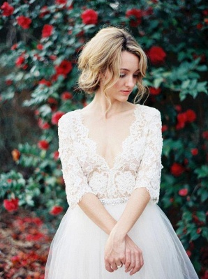 2021 A-line Wedding Dresses V Neck Lace Half Long Sleeves Maternity Bridal Gowns_1